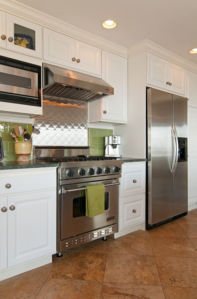 Kenmore Elite Stainless Steel Refrigerator with Eclectic Kitchen Also Stainless Steel Stainless Steel Backsplash Tiled Backsplash Tiled Floor White Cabinet