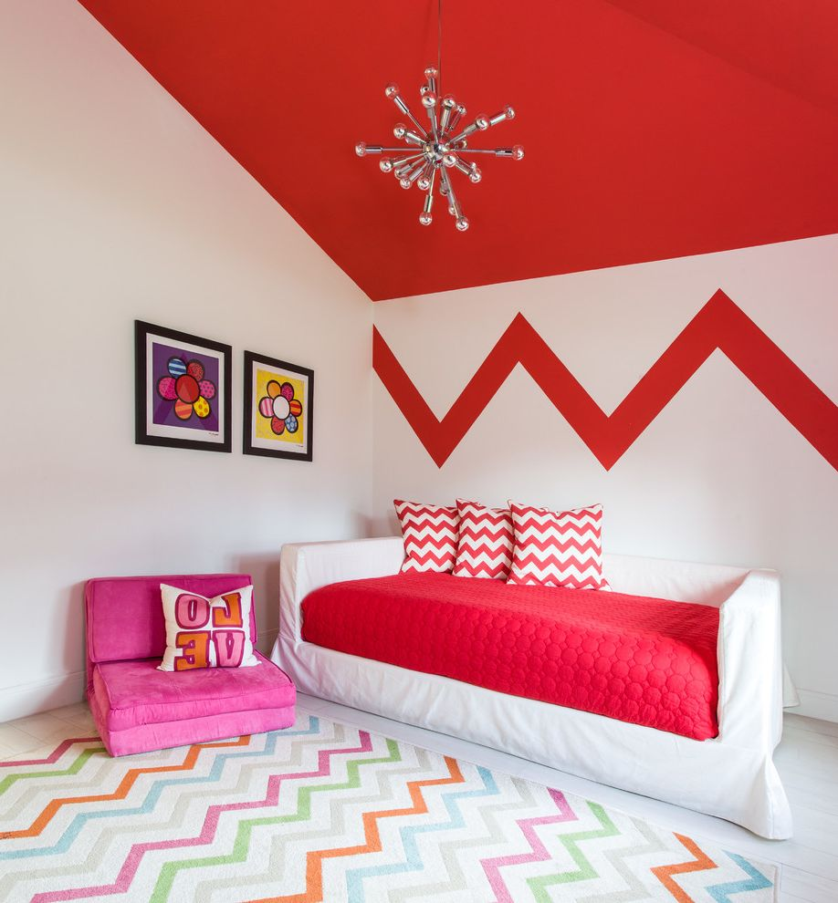 Kess in House   Contemporary Kids Also Chevron Chevron Rug Daybed Girls Bedroom Pink Lounge Chair Red Ceiling Red Duvet Cover Remodel Sputnik Chandelier Teen Rooms