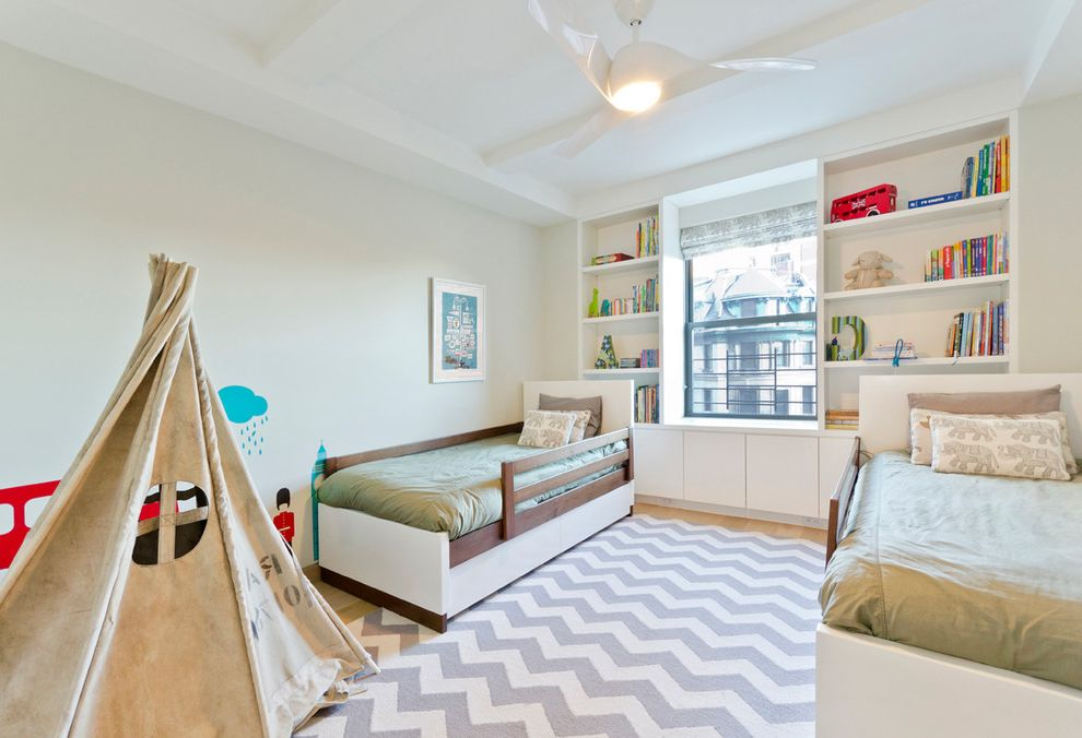 Kess in House with Contemporary Kids Also Apartment Built in Cabinetry Ceiling Fan Chevron Rug Double Beds Kids Beds New York City Prewar Teepee Window
