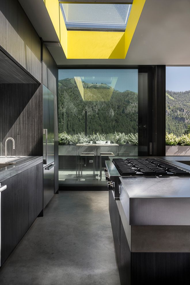 Ketchum Kitchens   Contemporary Kitchen Also Architectural Details Architectural Digest Architectural Elements Chic Dwell Large Window Pop of Color Skylight Sophisticated Window Wall Yellow Accent Color