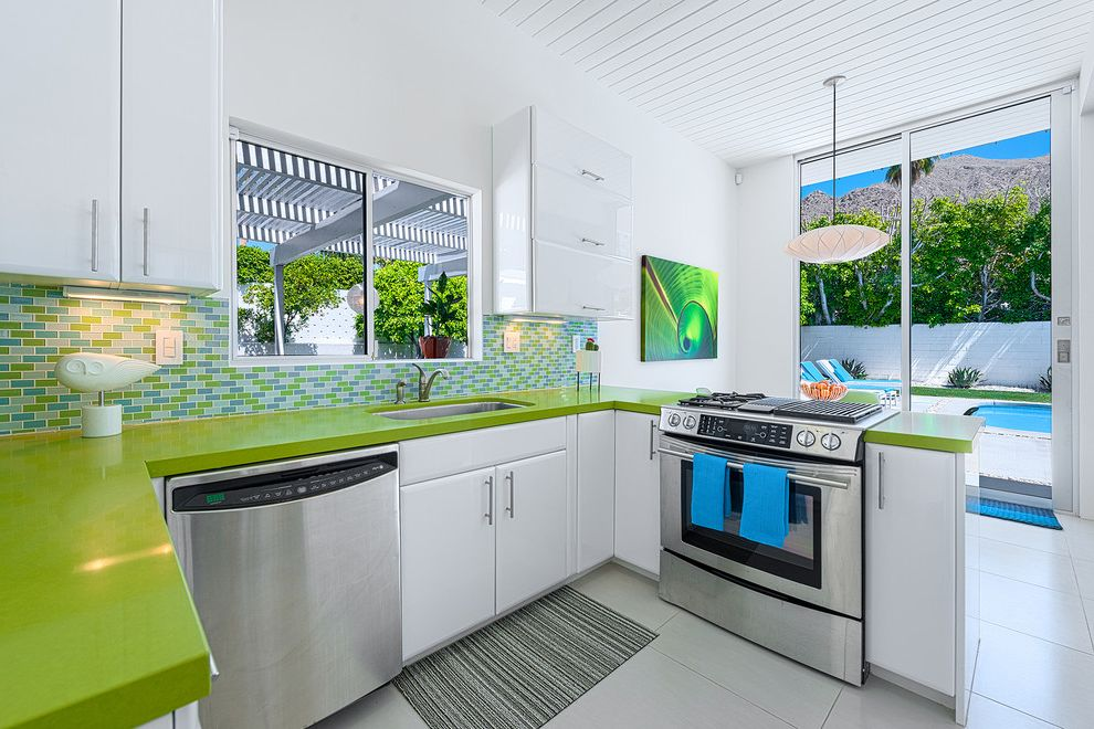 Ketchum Kitchens   Modern Kitchen Also Alexander Blue and Green Lime Green Countertops Mid Century Modern Palm Springs Pendant Lighting Stainless Steel Tile Floor U Shaped Kitchen White Beadboard Ceiling White Cabinets