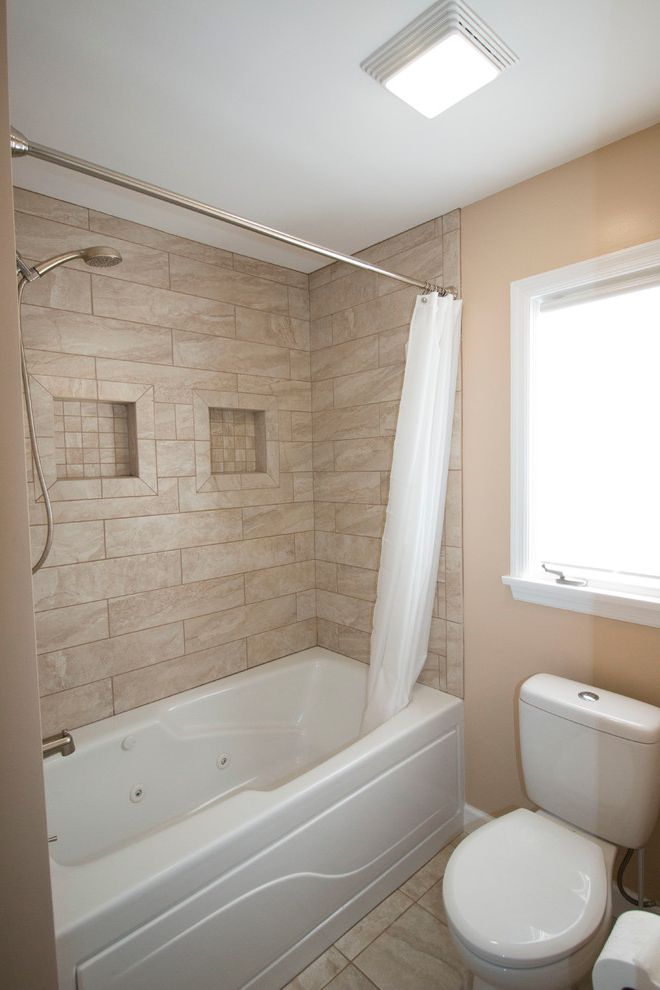 Ketchum Kitchens   Traditional Bathroom  and Bathroom Tile Around Tub Cubby Hole Storage Shower Rod Small Bathroom Tile Cubby