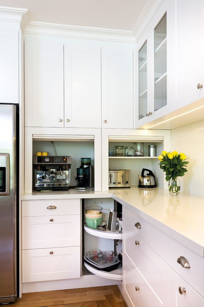 Kettle Moraine Appliance   Transitional Kitchen Also Bin Pulls Cabinet Lazy Susan Cake Stand Cup Pulls Glass Front Cabinets Herringbone Floor Herringbone Pattern Lazy Susan Shaker Style Stainless Steel Tambour White Counters