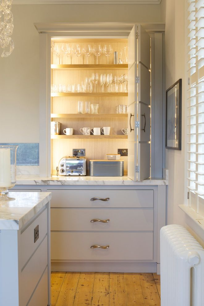 Kettle Moraine Appliance   Transitional Kitchen  and Bespoke Handles Cupboard Large Cabinets Painted Kitchen Pale Colours Shelving Storage