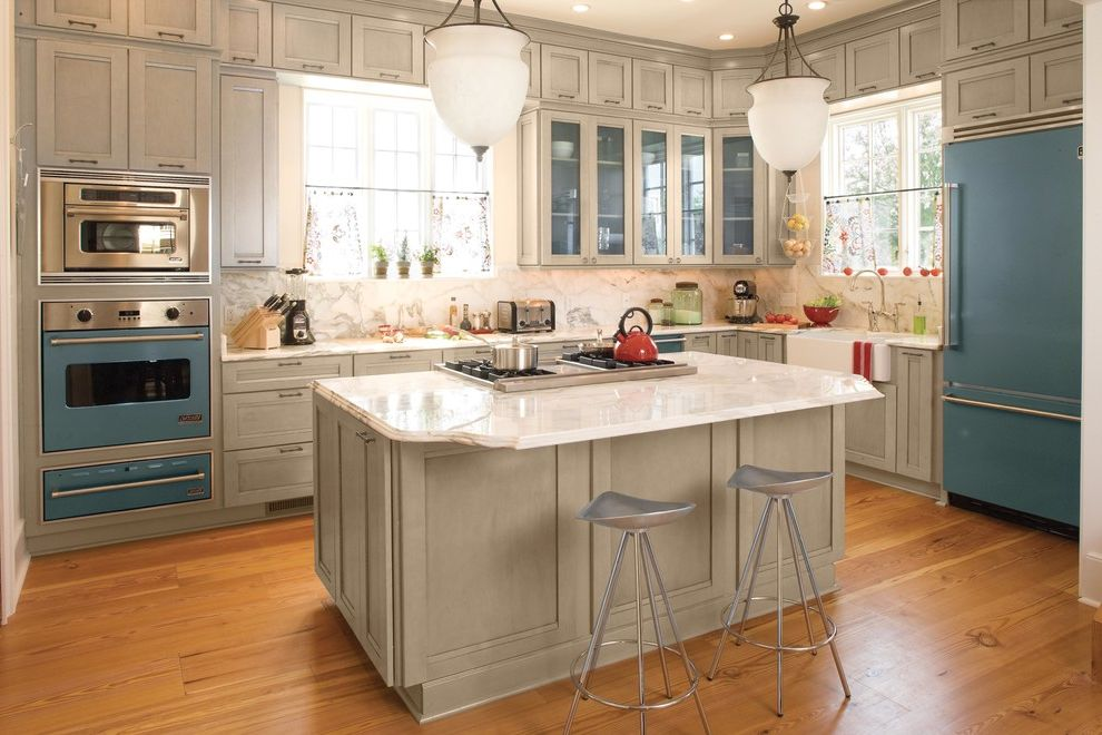 Kettle Moraine Appliance with Beach Style Kitchen  and Blue Appliances Glass Front Cabinets Metal Bar Stool Pendant Lights Wall Oven White Countertop