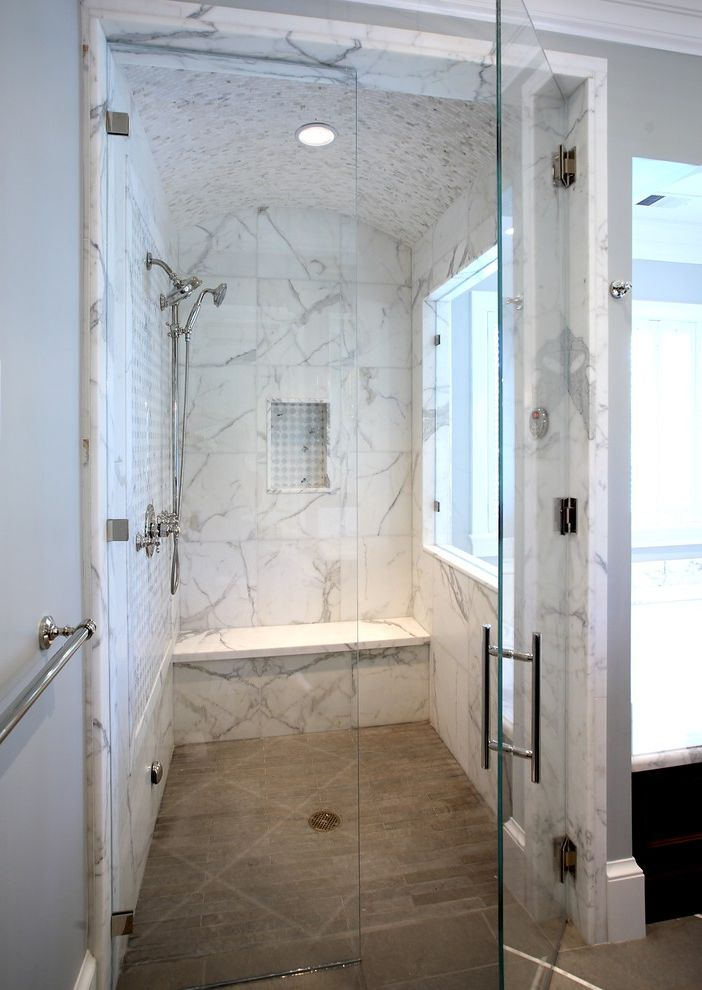 Kfr.com   Traditional Bathroom  and Calcuta Oro Marble Carrara Marble Clamping Drain Glass Shower Door Rounded Shower Ceiling Shower Shower Bench Shower Carrara Marble Shower Lighting Shower Niche Shower Tile Shower Window Steam Shower