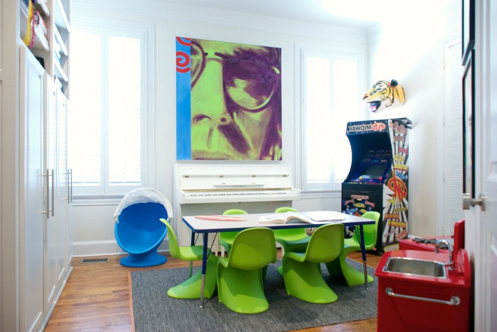 Kid Picks Game   Contemporary Kids  and Arcade Game Ball Chair Contemporary Artwork Keyboard Kids Chairs Kids Kitchen Kids Table Lime Chairs Lime Green Chairs Molded Plastic Dining Chairs Music My Houzz Play Area Playroom Storage Video Game