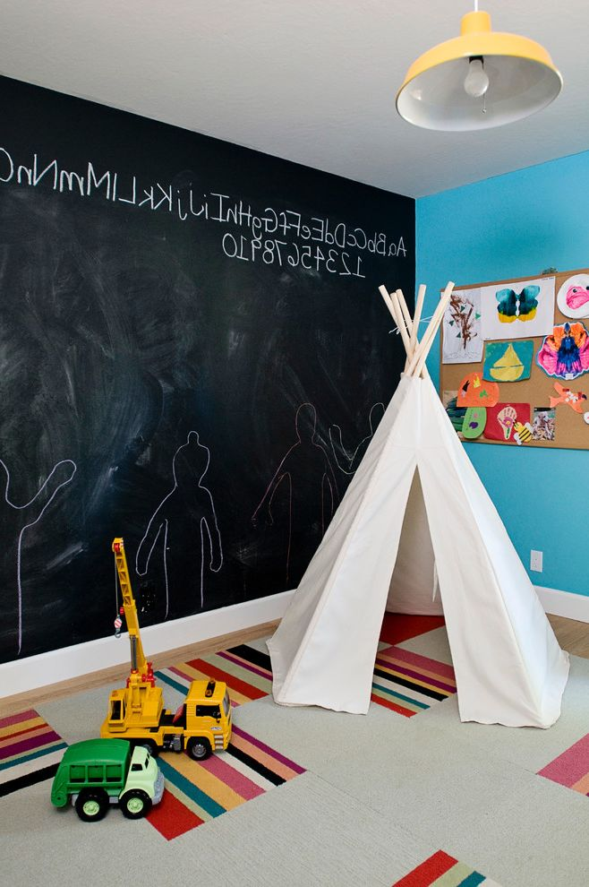 Kid Picks Game   Eclectic Kids Also Aqua Blue Wall Bulletin Board Carpet Tile Rug Chalkboard Chalkboard Wall Flor Carpet Tiles Flor Tiles Kids Playroom Kids Room Modern Playroom Teepee Toys Yellow Pendant Light