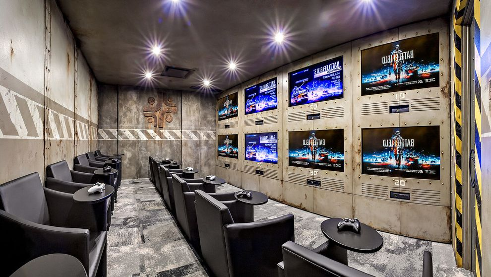 Kid Picks Game   Industrial Home Theater Also Ceiling Lighting Game Room Games Room Gaming Room Home Theater Industrial Ps3 Recessed Lighting Stadium Seating Video Games Xbox