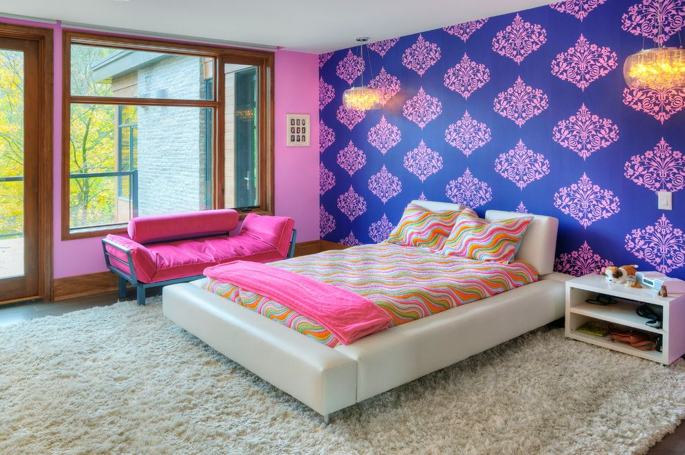 Kinds of Beds   Eclectic Kids Also Accent Wall Baseboards Colorful Damask Wallpaper Girls Bedroom Low Profile Bed Nightstand Pink Couch Pink Walls Platform Bed Psychedelic Bedding Shade Chandelier White Bed Wood Trim