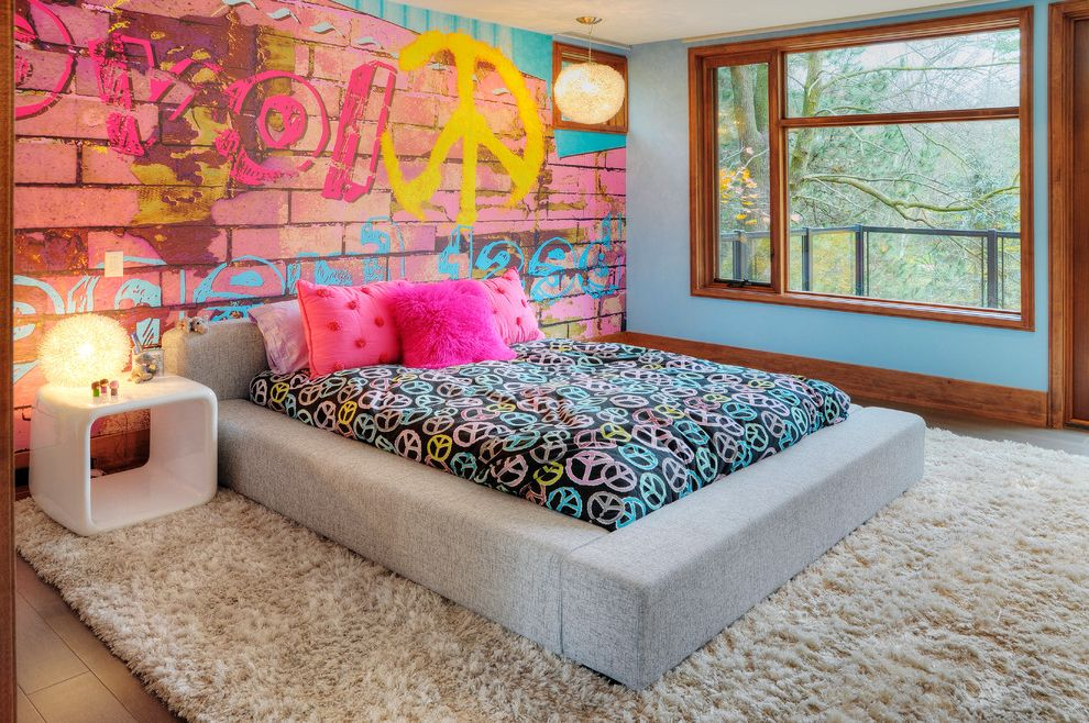 Kinds of Beds with Eclectic Kids Also Accent Wall Bedside Table Blue Walls Girls Room Graffiti Gray Bed Low Profile Bed Nightstand Peace Signs Platform Bed