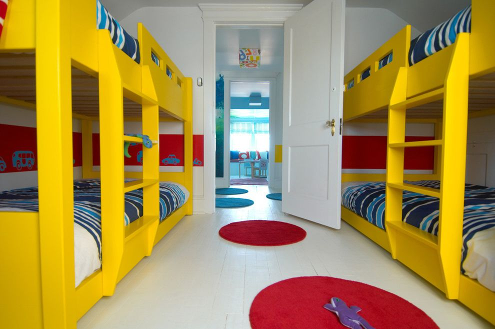 King Bed Spreads   Modern Kids  and Area Rug Bunk Beds Childrens Bedroom Color Custom Door Red Round Rug Rug White Floor White Painted Floor Yellow Yellow Bunk Bed