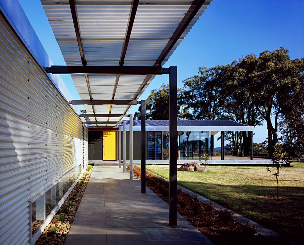 King Canopy Replacement Covers   Contemporary Porch  and Breezeway Corrugated Metal Wall Mornington Peninsula Portico Walkway