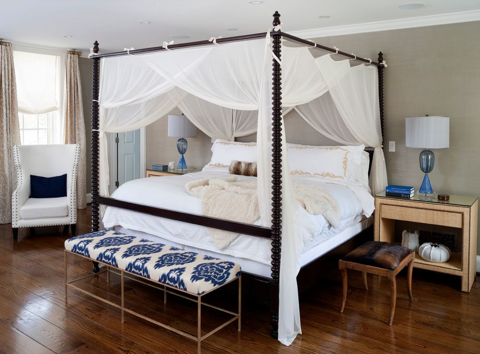 King Canopy Replacement Covers   Transitional Bedroom Also Brass Bench Canopy Bed Canopy Four Poster Bed Four Poster Bed Glass Lamp Gray Wallpaper Ikat Fabric Master Suite Upholstered Side Table Wingback Chair