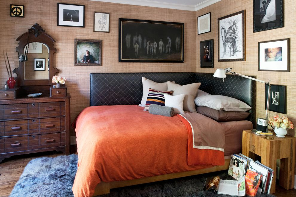 King Size Bed Width   Eclectic Bedroom Also Bed Pillows Bedside Table Chest of Drawers Corner Bed Day Bed Dresser Gallery Wall High Pile Rug Magazine Rack Magazine Storage Nightstand Orange Bedding Small Space Upholstered Headboard Wall Art Wall Decor
