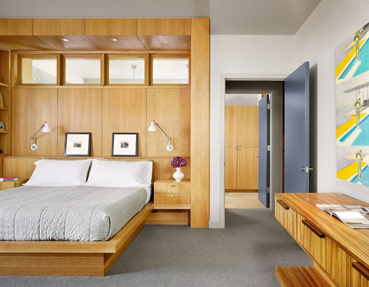 King vs Cal King   Modern Bedroom Also Built in Platform Bed Zebra Wood