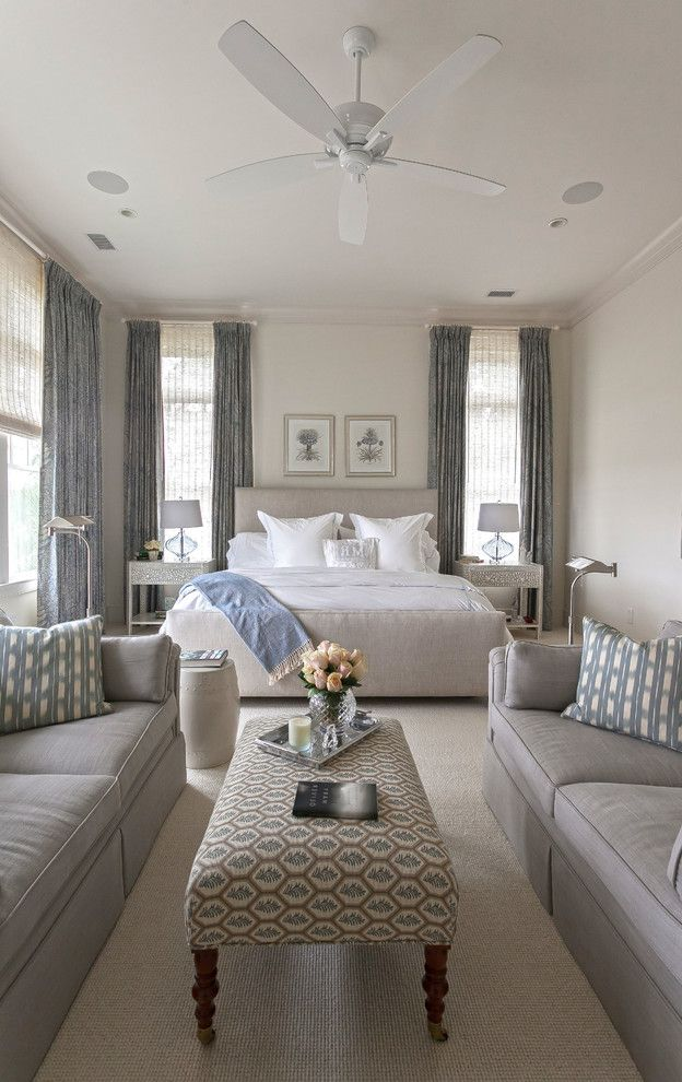 King vs Cal King   Transitional Bedroom  and Beach Home Beautiful Pools Beige Upholstered Bed Charleston Chrome Floor Lamp Custom Floor Gray Blue Curtains Gray Sofa Kiawah Island Symmetry Table Lamps Upholstered Bench White Bedding White Ceiling Fan