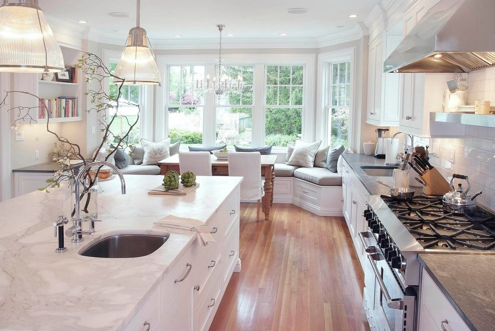 Kitchen and Bath Showrooms Near Me with Traditional Kitchen  and Bamboo Blinds Bench Eat in Kitchen Farmhouse Table Glass Pendant Kitchen Marble Counter Slipcovered Dining Chair Stainless Subway Tile Backsplash White Cabinets White Kitchen Window Seat