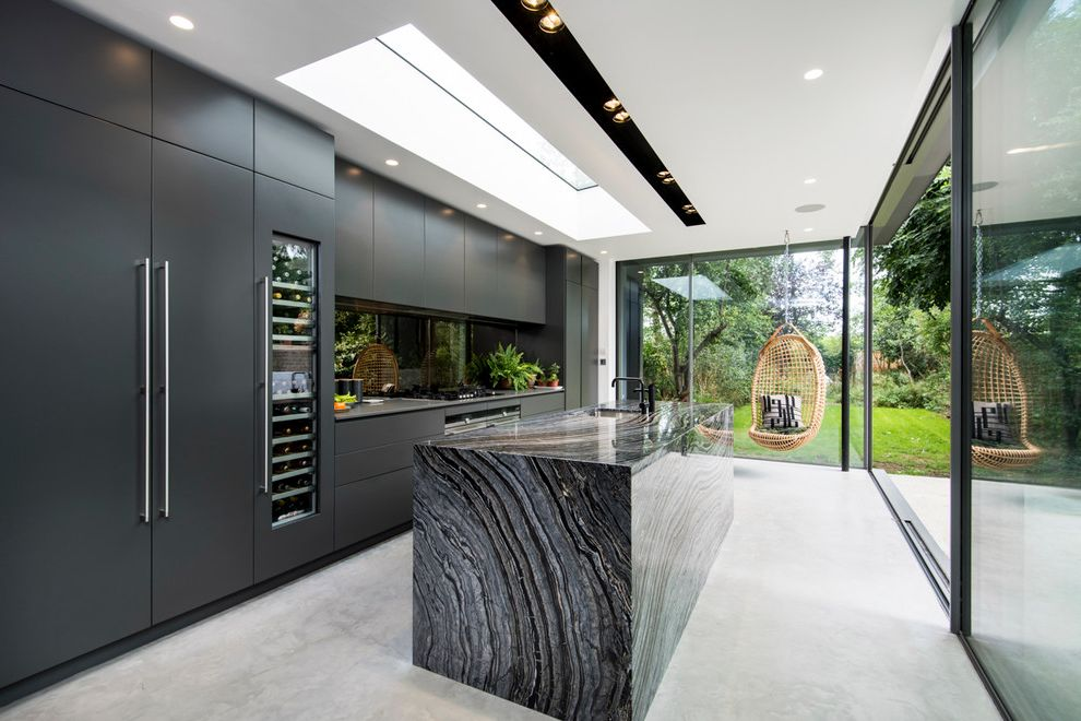 Kitchen Padded Mats   Contemporary Kitchen  and Bachelor Pad Beer Wine Fridges Black Cabinets Black Countertops Black Kitchen Faucet Concrete Floors Glass Walls Masculine Modern Recessed Lighting Skylights Wine Fridge