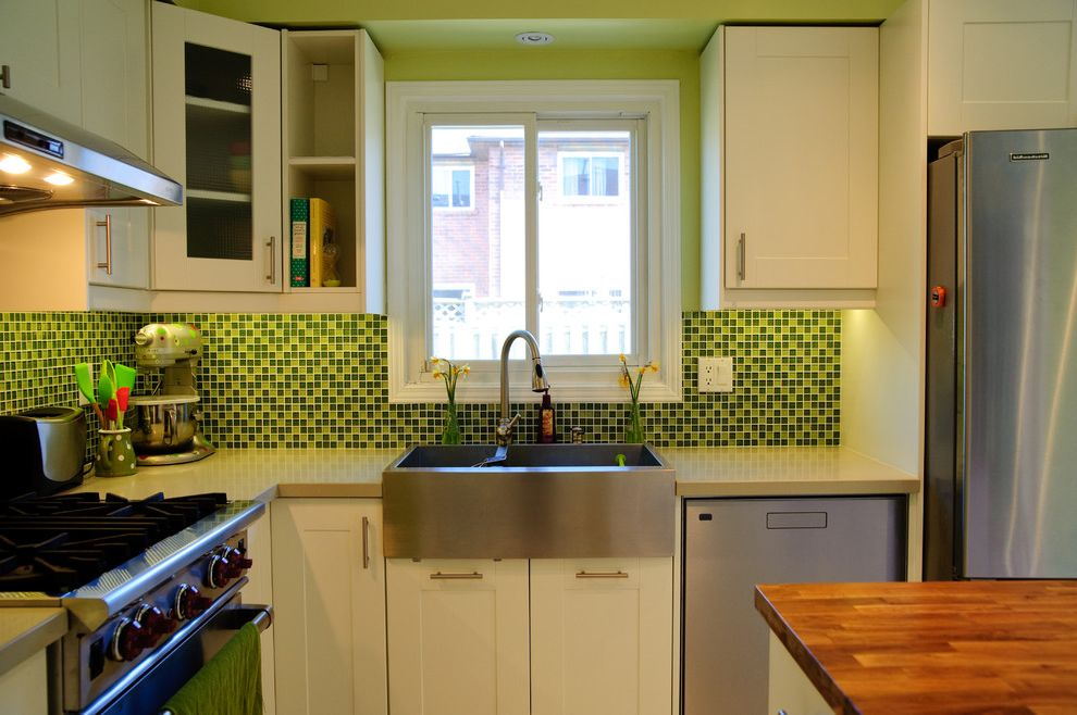 Kitchen Sink St Louis   Contemporary Kitchen  and Cove Lighting Green Wall Lime Green Range Recessed Lighting Small Kitchen Small Kitchen Appliances Stainless Steel Sink Vent White Trim Window Wood Countertop