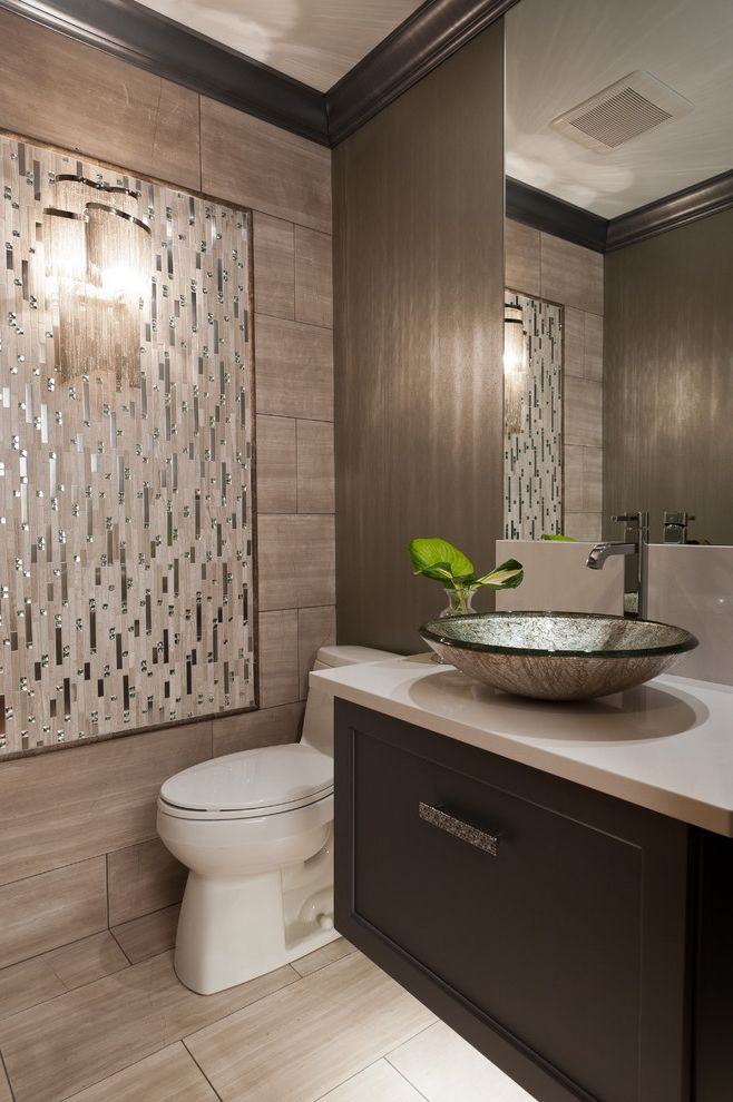 Kitchen Sink St Louis   Contemporary Powder Room  and Crown Molding Earth Tones Floating Vanity Neutral Colors Sconce Small Bathroom Tile Floor Tile Wall Toilet Vanity Vanity Storage Vessel Sink Wall Art Wall Mirror
