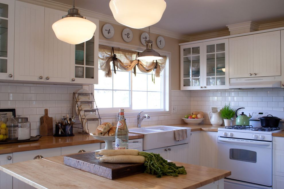 Kitchen Sink St Louis   Traditional Kitchen  and Apron Sink Block Burlap Butcher Butcherblock Cutting Board Farmhouse Farmhouse Sink French Glass Door Glass Cabinets Ikea Island Schoolhouse Pendant Subway Tile Vintage White White Cabinets White Pottery