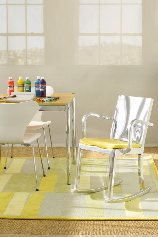 Kitchen Slice Rugs   Contemporary Kids Also Arkitektura Crafts Area Eat in Kitchen Emeco Rocker Geometric Rug Jute Rug Kitchen Modern Kitchen Modern Rug Rocking Chair Series 7 Chair Sloan Miyasato Yellow Yellow Rug