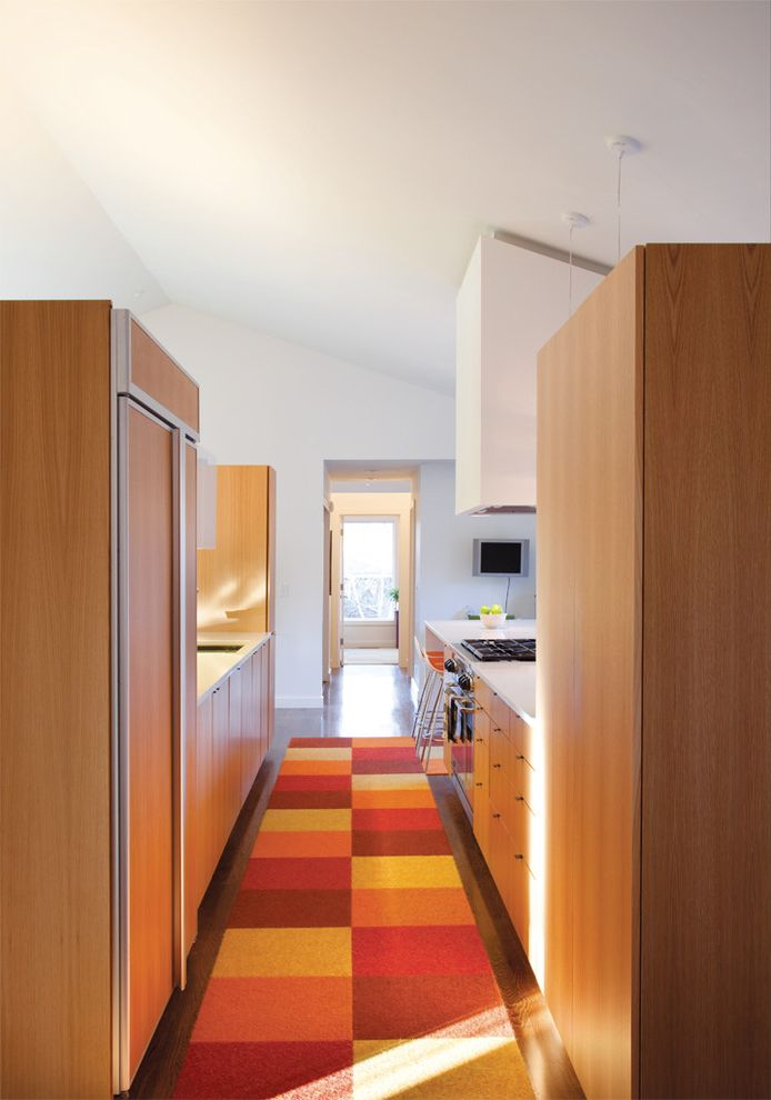 Kitchen Slice Rugs   Modern Kitchen  and Breakfast Bar Cabinet Front Refrigerator Checker Pattern Rug Earth Tone Colors Eat in Kitchen Galley Kitchen Honey Cabinets Panel Refrigerator Sloped Ceiling Vaulted Ceiling Wood Cabinets Wood Flooring