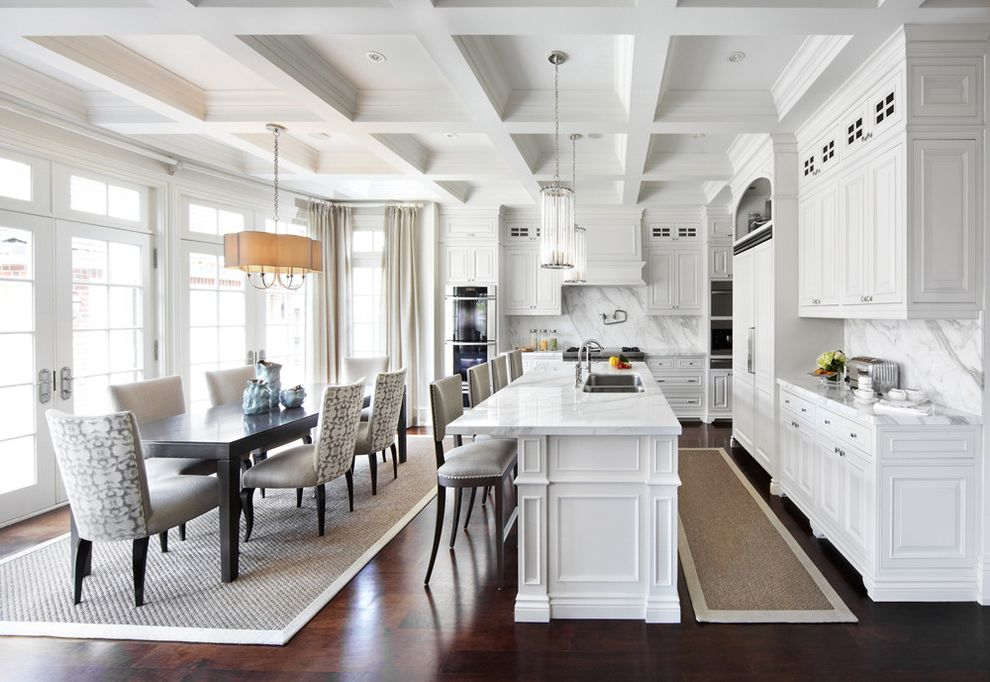 Kitchen Slice Rugs   Traditional Kitchen Also Barstools Bright Coffered Ceilings Dining Chairs Dining Table French Doors Kitchen Cabinets Kitchen Island Pendant Lighting Transom Windows White White Cabinets Woven Area Rugs
