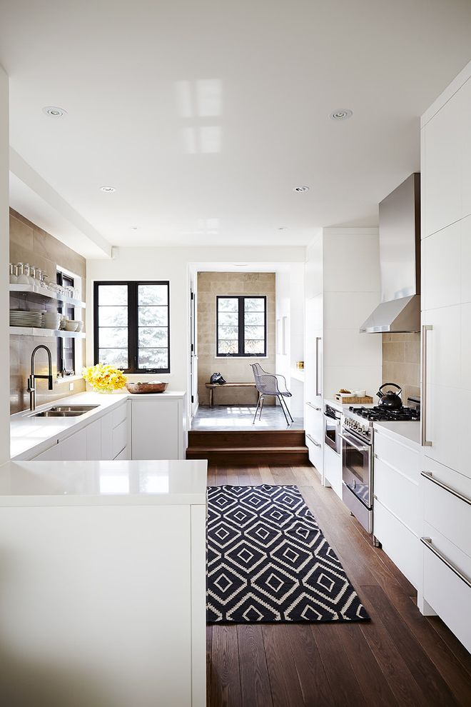 Kitchen Slice Rugs   Transitional Kitchen Also Black and White Area Rug Black Window Trim Full Height Cabinets Open Shelves Recessed Lighting Soffit