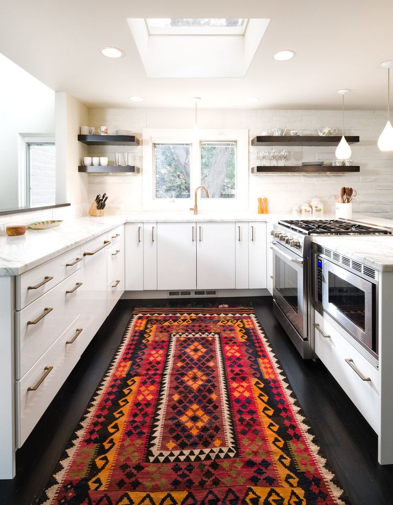 Kitchen Slice Rugs with Contemporary Kitchen  and Dark Wood Floors Kitchen Kitchen Rug Open Shleving White Cabinets