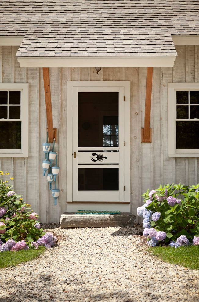 Knickerbocker Pools   Beach Style Entry  and Awning Decorative Buoys Gravel Hydrangea Lobster Motif Screen Door