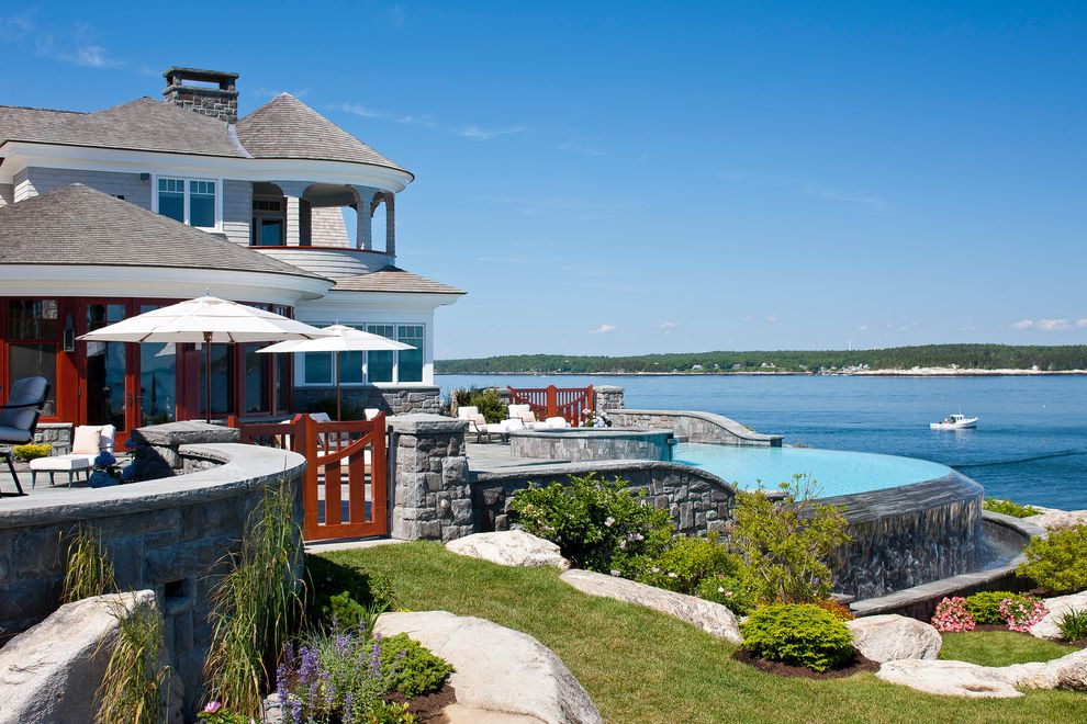 Knickerbocker Pools   Beach Style Exterior  and Cabana Luxury Realestate Maine House Maine Rocky Cliffs Natural Landscape Sheepscot River Vanishing Edge Pool