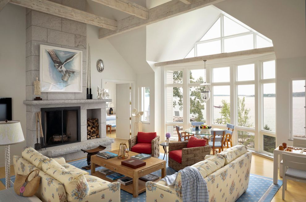 Knickerbocker Pools   Beach Style Living Room  and Bay Window Blue Area Rug Dormer Window Gray Tile Fireplace High Ceiling Vaulted Ceiling Waterfront Woven Armchair