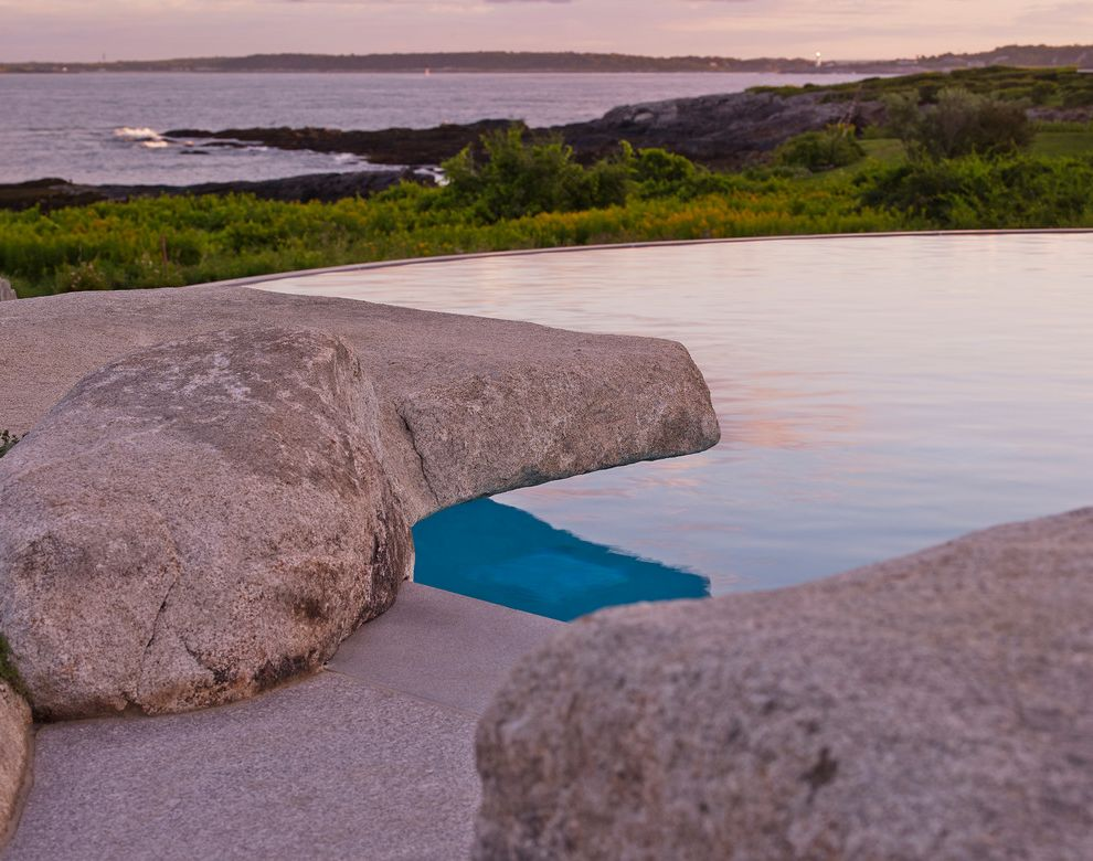 Knickerbocker Pools   Beach Style Pool  and Cabana Infinity Pool Landscape Architect Arek Galle of Beta Group Living Plant Wall Maine Maine Beach Home Matt St Cyr of Cumberland Ironworks Outdoor Kitchen Seaside Home
