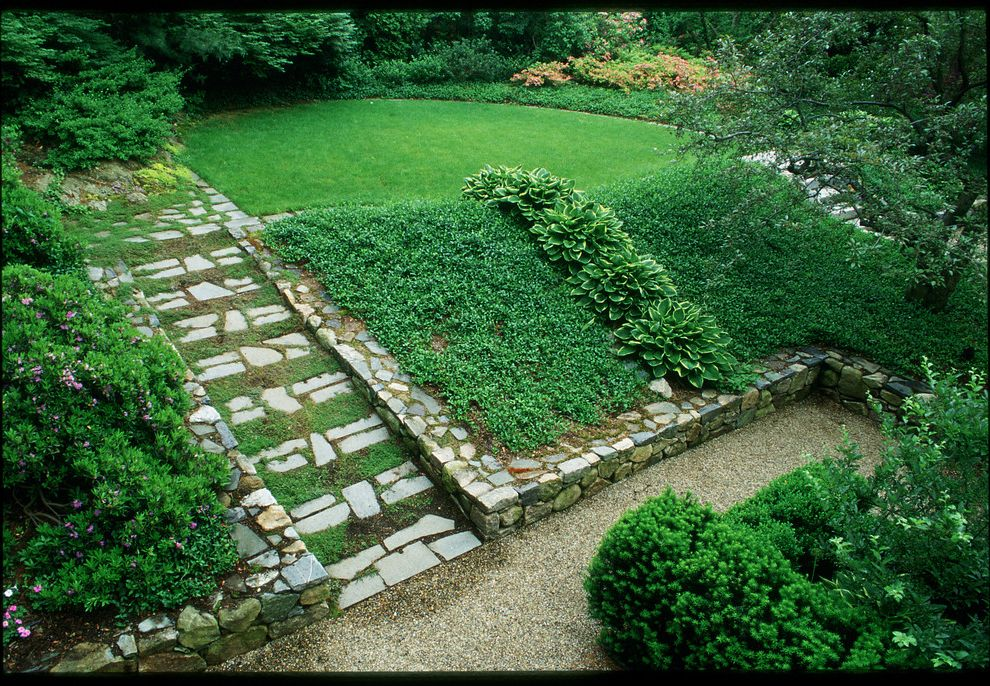 Knickerbocker Pools   Traditional Landscape  and Garden Path Grass Gravel Path Green Ground Cover Hillside Hosta Lush Sloped Yard Stone Borders Stone Steps Upper and Lower Terrace