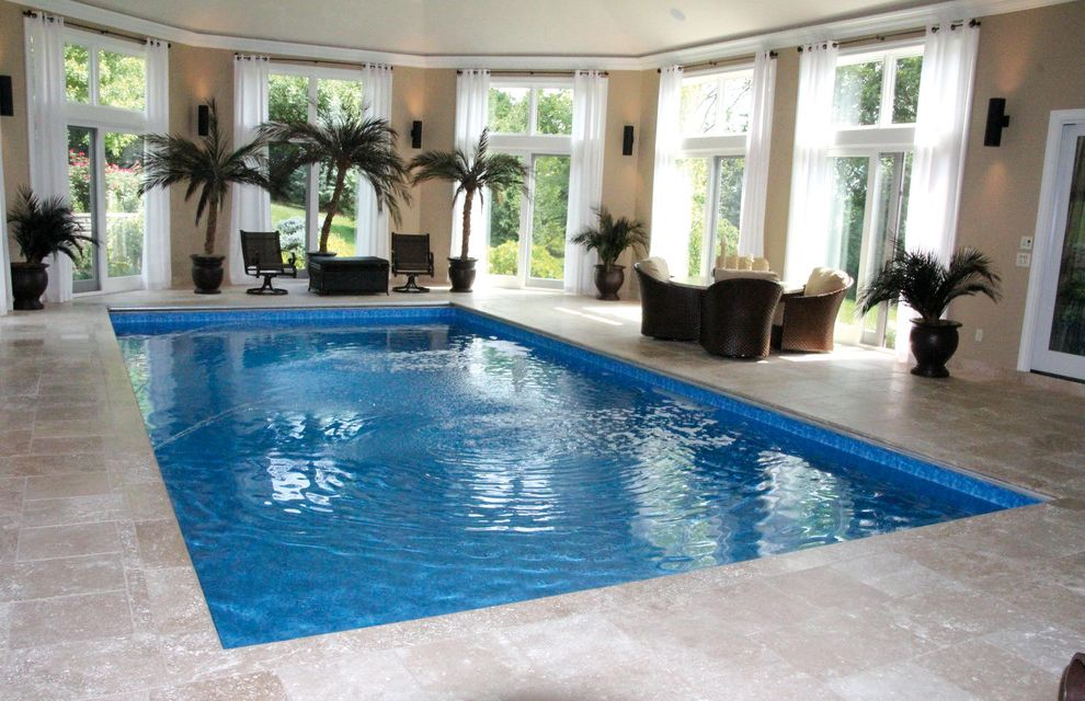 Knickerbocker Pools with Mediterranean Pool  and Rectangle with Auto Undertrack Automatic Cover Travertine Tile Decking Trevi Fountain Jets