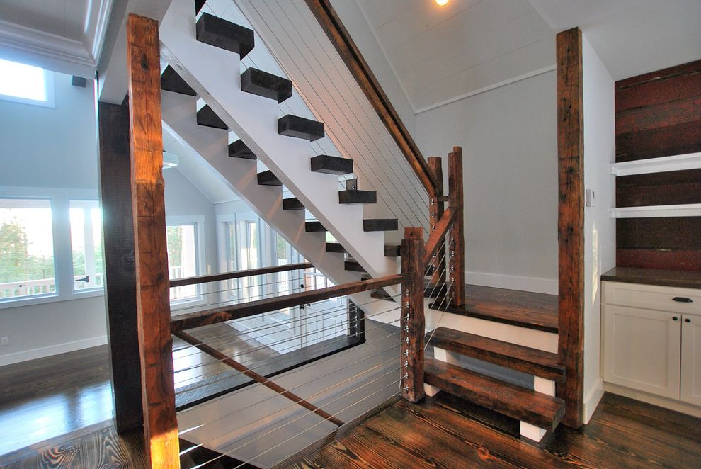 Knox Rail Salvage   Rustic Staircase  and Built in Cabinets Cable Rail Cable Railing Catskill Farm Cottage Country Escape Getaway Landing New York Retreat Rural Rustic Stair Stair Case Staircase Stairs Stairway Upstate Upstate New York White Walls
