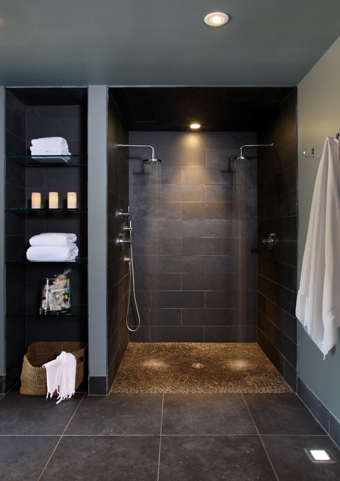 Kohler Forte Shower Head   Contemporary Bathroom Also Baseboards Gray Walls Open Shower Pebble Tile Rain Showerhead Tile Floors Towel Storage Walk in Shower White Trim