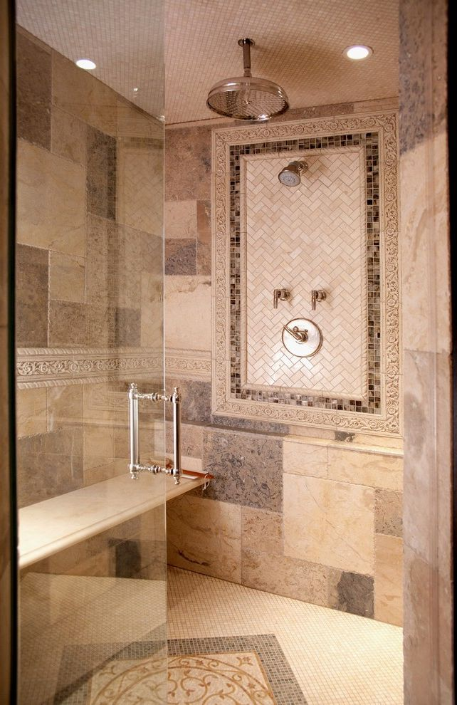 Kohler Forte Shower Head for Traditional Bathroom Also Accent Tile ...