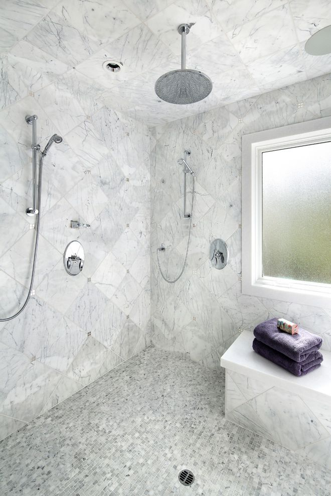 Kohler Forte Shower Head with Transitional Bathroom Also Bianco Carrara Hand Shower Marble Floor Marble Mosaic Rain Shower Shower with Window Statuarito Marble White Marble