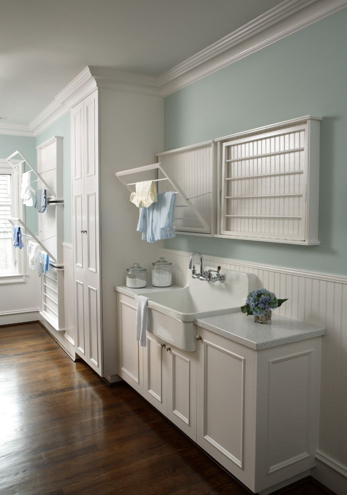 Kohler K 2210 0   Traditional Laundry Room Also Clothes Rack Drying Racks Farmhouse Sink Light Blue Wall White Cabinetry Wood Floors