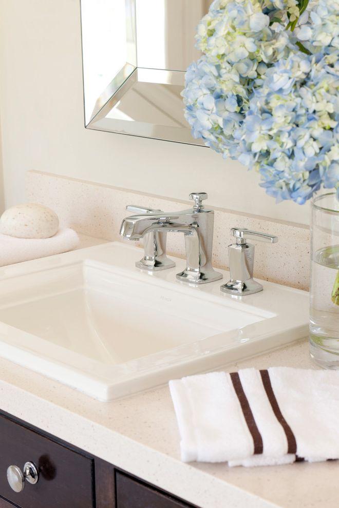 Kohler K 2210 0 with Transitional Bathroom Also Bathroom Hardware Bathroom Lighting Beveled Mirror Dark Wood Cabinets Neutral Colors Square Sink