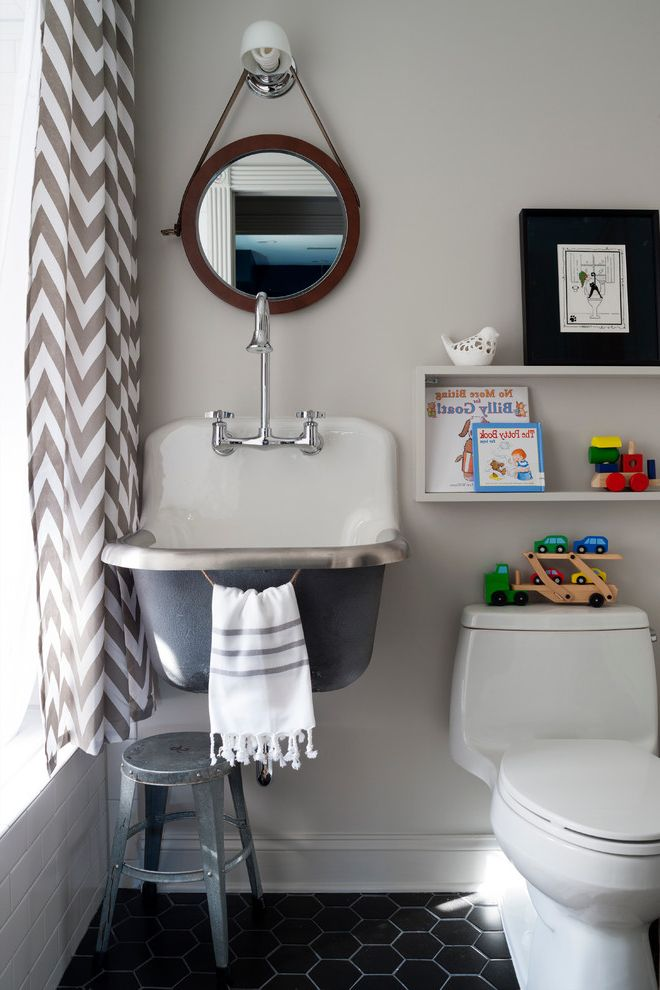 Kohler K 2210 0 with Transitional Bathroom  and Chevron Curtain Hexagon Tile Industrial Sink Leather Mirror Metal Stool Milk Glass Sconce Round Mirror Towel Ring