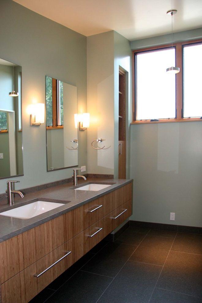 Kohler K 2215   Contemporary Bathroom Also Built in Storage Cement Counter Floating Vanity Green Modern Faucet Pendant Light Sage Sconces Slate Tile Undermount Sinks Wood Cabinets