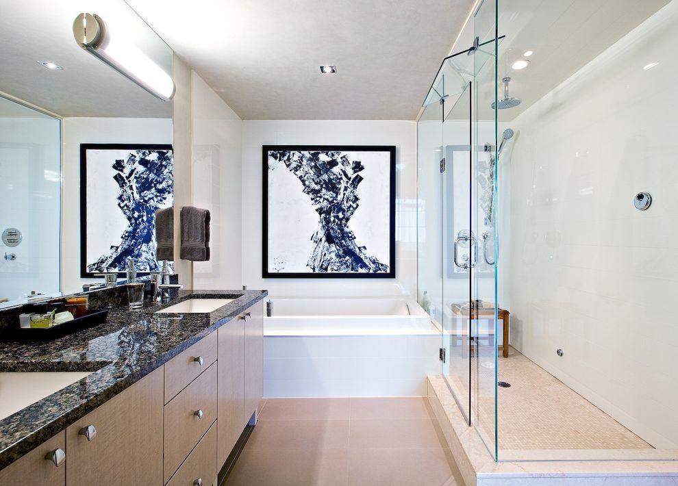 Kohler K 2215   Contemporary Bathroom  and Artwork Double Vanity Flush Cabinets Glass Shower Enclosure Granite Counter Black Counter Large Mirror Natural Wood Rain Shower Soaking Tub Straight Lines Tile Floor White Walls