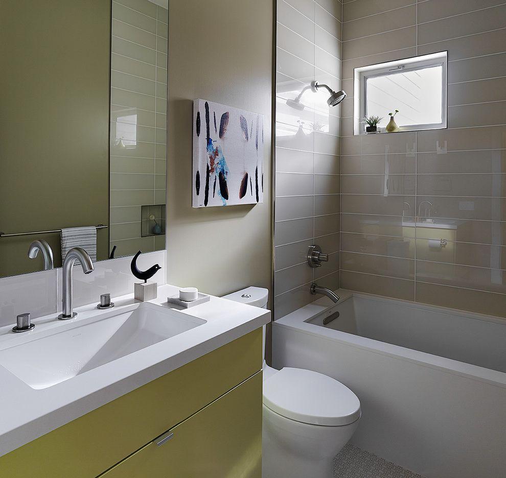 Kohler K 2215   Contemporary Bathroom  and Bathroom Bathroom Mirror Beige Tile Beige Walls Flat Panel Cabinets Guest Bath Modern Tile Powder Room Shower Tile Shower Tub Small Bathroom Vanity Top Sink Wall Mounted Vanity Yellow Cabinets