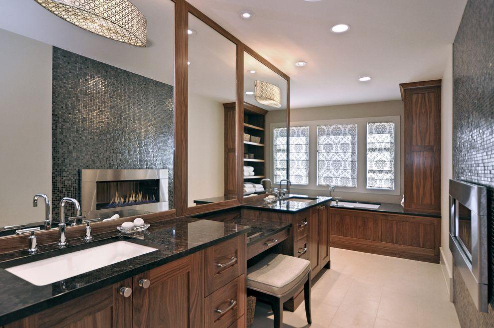 Kohler K 2215   Transitional Bathroom  and Black Countertops Custom Wood Cabinets Double Sinks Drum Shade Pendant Lights Fireplace Mirror Mosaic Tile Roman Shades Tile Fire Surround Vanity Stool
