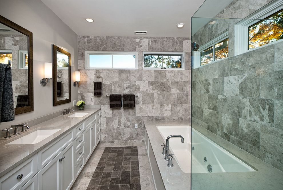 Kohler K 2215 with Transitional Bathroom  and Built in Vanity Double Vanity Gray Bathroom Tile Gray Counter Masculine Color Scheme Monochromatic Color Scheme Small Windows Towel Rail Two Handle Faucet