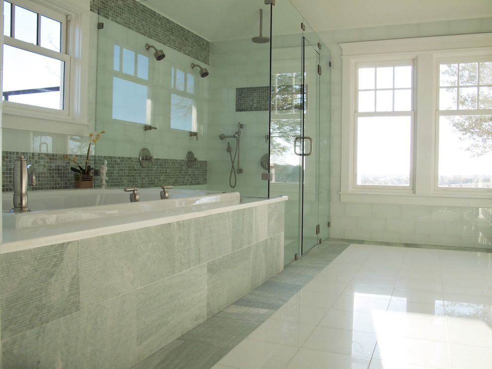 Kohler Shower Mixing Valve   Traditional Bathroom Also Glass Panel Shower Enclosure Marble Tub Deck Mosaic Tile Rain Shower Soaking Tub Tile Floor Tile Tub Surround Tile Walls White Painted Wood